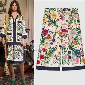 Gucci Ivory Flora Silk Twill Blue Trim Pants